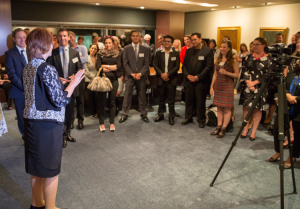Former Australian Prime Minister, Julia Gillard, talking to Ducere Students